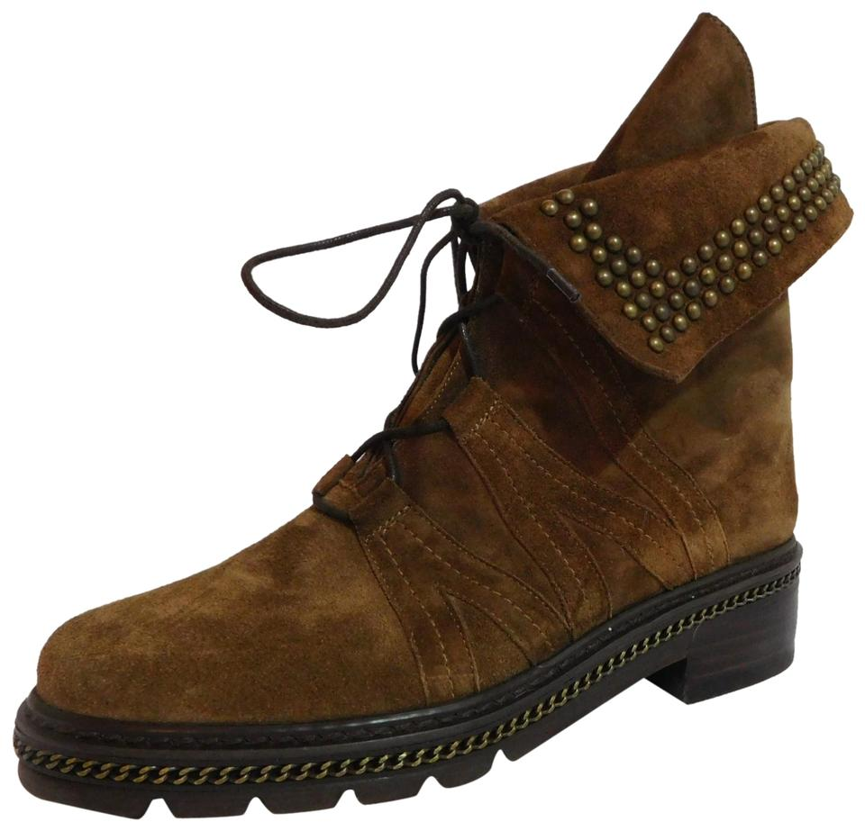 30ef1272084 Stuart Weitzman Brown Yadastud Chain Suede Ankle Boots Booties Size ...