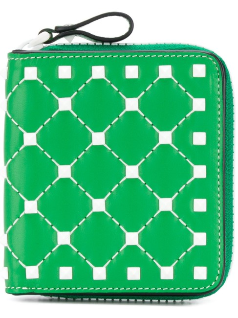 Valentino Green Rockstud Free Spike Leather Small Zip Around French Compact Wallet Valentino Green Rockstud Free Spike Leather Small Zip Around French Compact Wallet Image 1