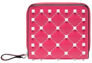 Valentino Rockstud Free Spike Leather Small Zip Around French Compact Wallet