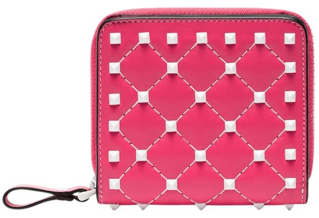 Valentino Pink Rockstud Free Spike Leather Small Zip Around French Compact Wallet Valentino Pink Rockstud Free Spike Leather Small Zip Around French Compact Wallet Image 1
