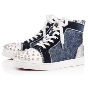 Christian Louboutin Hi Top Sneakers Spikes Studded Denim Blue, Silver, White Athletic