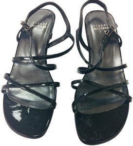Stuart Weitzman Patent Leather Strappy Black Sandals