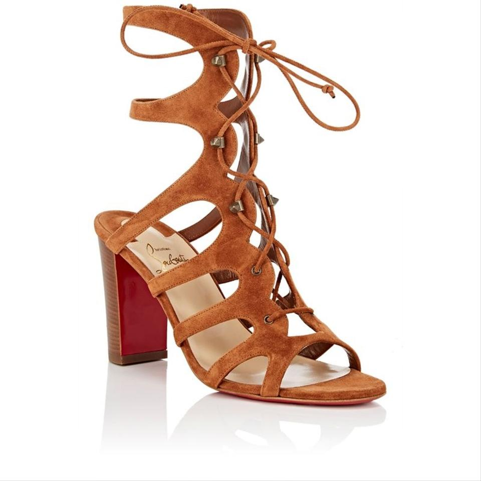 d833be16b55 Christian Louboutin Brown Amazoudur Caged Lace Up Gladiator Sandals ...
