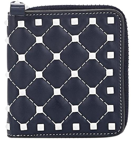698d6b8c85 Valentino Rockstud Free Spike Leather Small Zip Around French Compact Wallet  ...