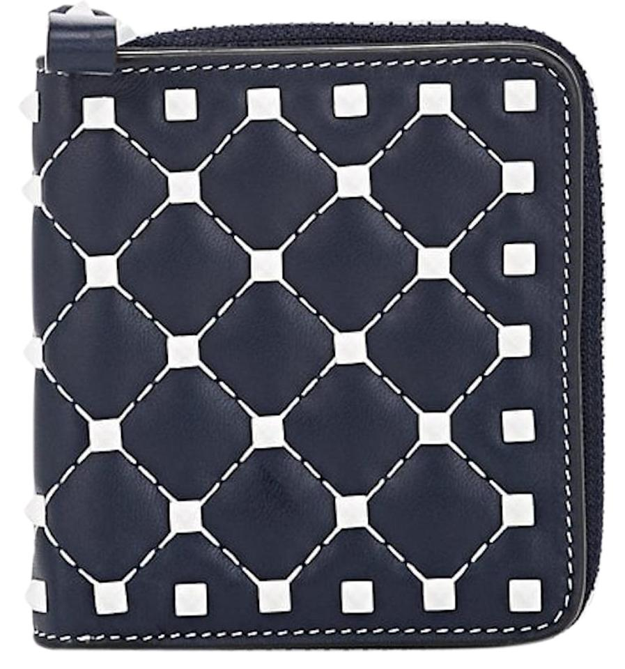 Valentino Rockstud Free Spike Leather Small Zip Around French Compact Wallet  Image 0 ... 217dbda603265