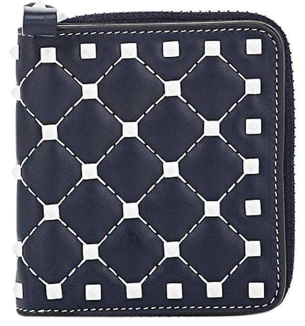 Valentino Blue Rockstud Free Spike Leather Small Zip Around French Compact Wallet Valentino Blue Rockstud Free Spike Leather Small Zip Around French Compact Wallet Image 1