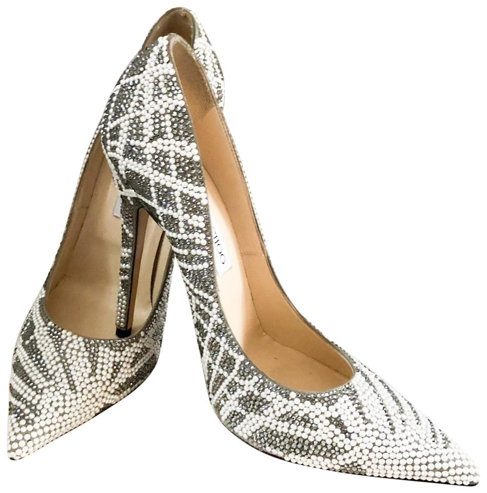 4cdc9c1e0b12 Jimmy Choo Anouk Pearl Crystal Suede Embellished Pumps Size US 9.5 ...