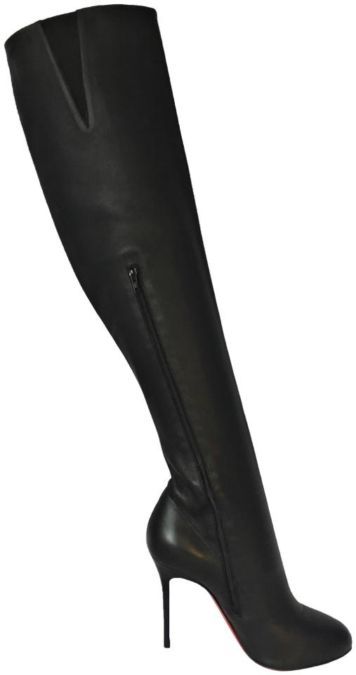 703ea7d1fe8 Christian Louboutin Black New Sempre Monica Knee High Heel Lady Red Sole  Toe Zip Italy Leather Boots Booties