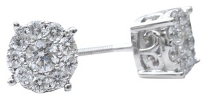 Amore Diamonds 0.80 ct D VS/Si1 round diamond cluster center of my universe stud earrings 14K 7.3mm