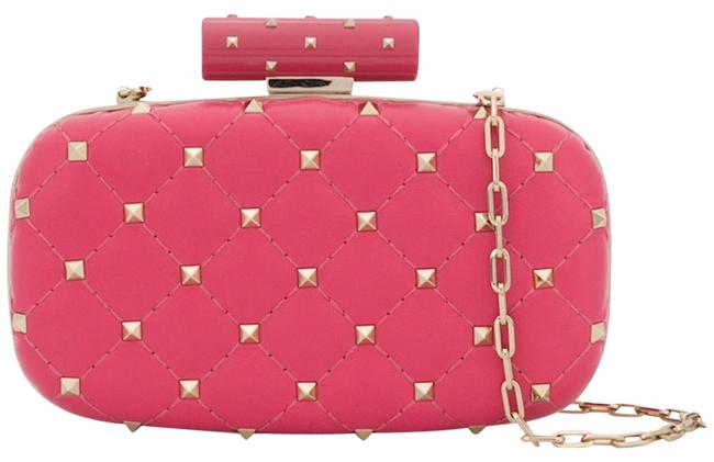 Valentino Minaudière Rockstud Free Spike Quilted Gold Chain Pink Leather Clutch Valentino Minaudière Rockstud Free Spike Quilted Gold Chain Pink Leather Clutch Image 1