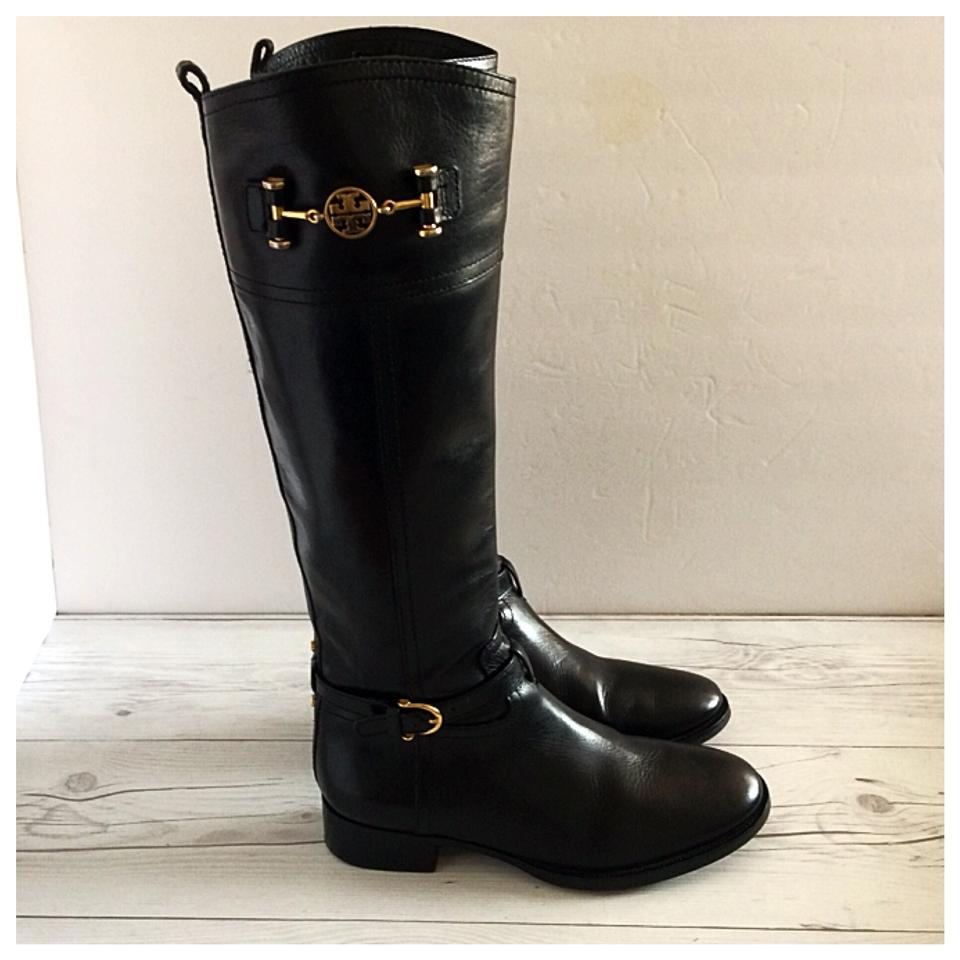 ae93dc6157d6 Tory Burch Black Nadine Leather Knee High Riding Boots Booties Size ...