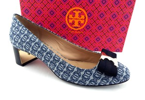 Tory Burch New Gemini Link Gemini Bow Logo Blue Pumps