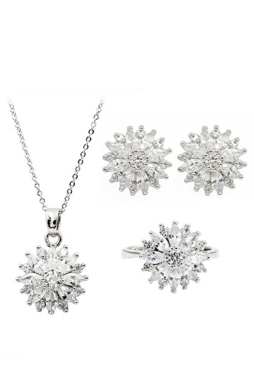 Preload https://img-static.tradesy.com/item/23541015/silver-shining-crystal-sun-flower-earrings-ring-set-necklace-0-0-540-540.jpg