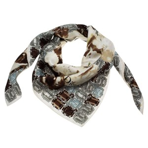 Dior Monochrome Flower and Jewels Printed Square Silk Scarf