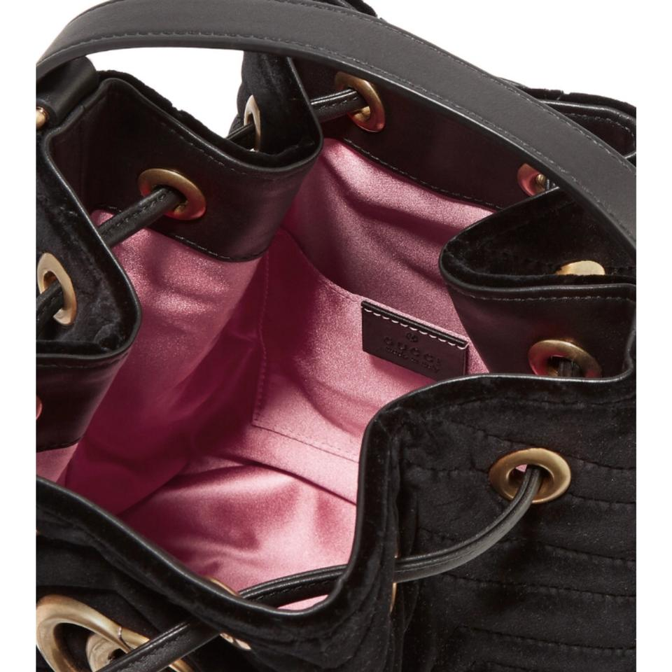 06eaa1c9fa8014 Gucci Marmont Bucket Quilted Velvet Leather Trimmed Cross Body Bag ...