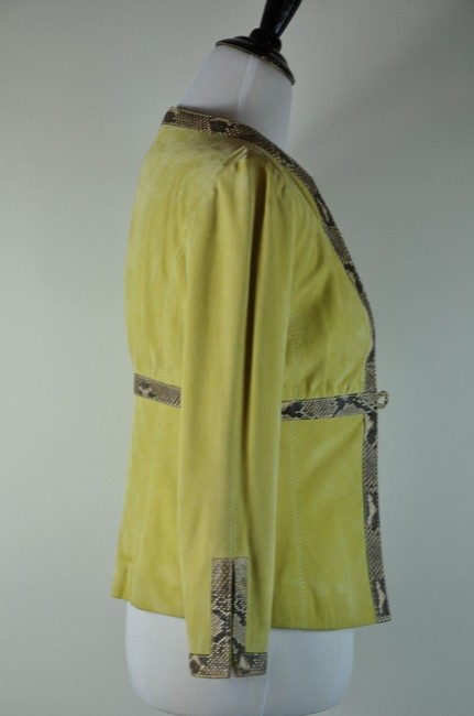 Valentino New Suede Python Snakeskin Rare Size 6 Lime Green Jacket