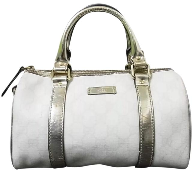 Gucci Boston Small Size Silver Leather Canvas Satchel Gucci Boston Small Size Silver Leather Canvas Satchel Image 1