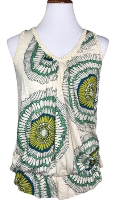 Anthropologie Cream Green Sunflower Peplum Sleeveless Blouse Tank Top/Cami Size 6 (S) Anthropologie Cream Green Sunflower Peplum Sleeveless Blouse Tank Top/Cami Size 6 (S) Image 1
