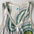 Anthropologie Cream Green Sunflower Peplum Sleeveless Blouse Tank Top/Cami Size 6 (S) Anthropologie Cream Green Sunflower Peplum Sleeveless Blouse Tank Top/Cami Size 6 (S) Image 4