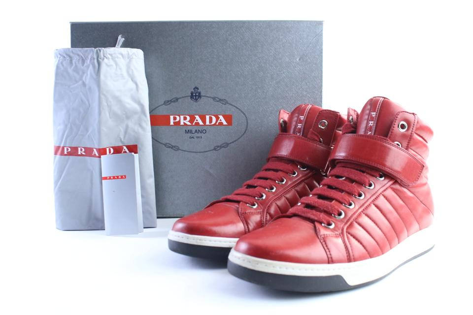 Mens High Sneakers Sneaker Quilted 30pr0618 Red Top Prada EwSFHxXqR