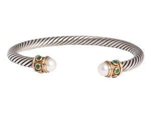 David Yurman Emerald and Pearl Bracelet