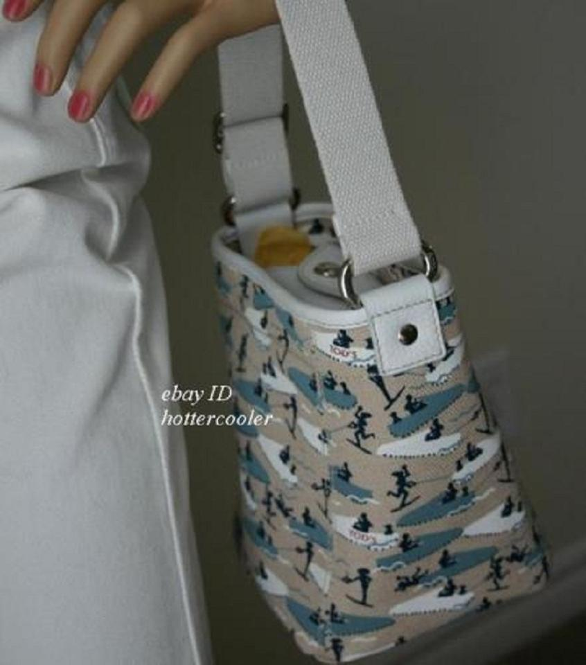 Tod's Bag Bucket Mini Handbag with White Trim D3 Multi-color Canvas/  Leather Tote 69% off retail