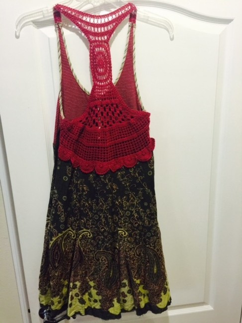 Free People short dress Red Green comb Summer Fun Day Vacation on Tradesy