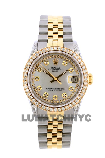 Rolex Box 2.2ct 34mm Date Gold Ss with and Appraisal Watch Rolex Box 2.2ct 34mm Date Gold Ss with and Appraisal Watch Image 1