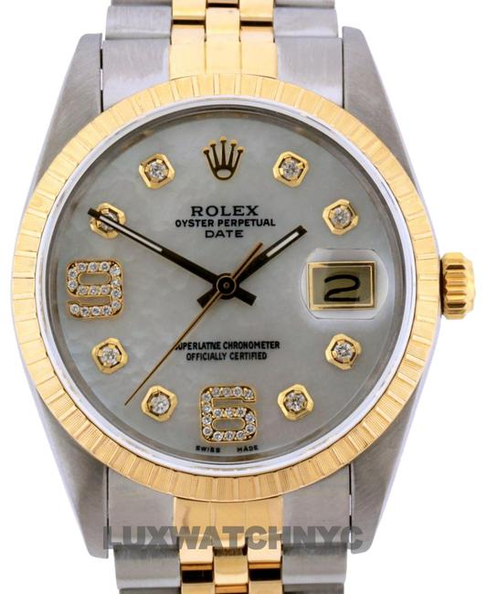 Rolex White Mop Dial 34mm Date Gold Stianless Steel with Appraisal Watch Rolex White Mop Dial 34mm Date Gold Stianless Steel with Appraisal Watch Image 1