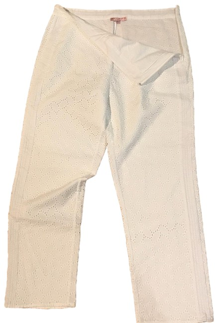 Calypso St. Barth Straight Pants white lace cutout design