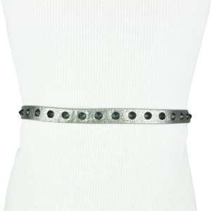 Miley Cyrus & Max Azria Silver Black Studded Textured Belt Size Large