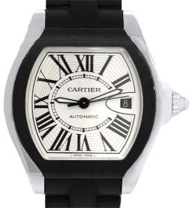 Cartier Cartier 3312 Roadster Silver Dial On Black Rubber Strap Watch