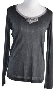 Vera Wang Mesh Underlay Cristal Flower Ornament Wool Crewneck Sweater