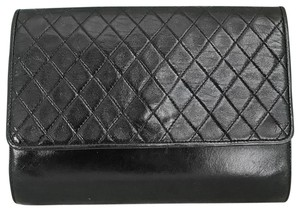 Saint Laurent Yves Quilted Leather Black Clutch