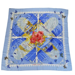 "Hermès HERMES XL Scarf ""VARANGUES"" Blue 100% Silk France"