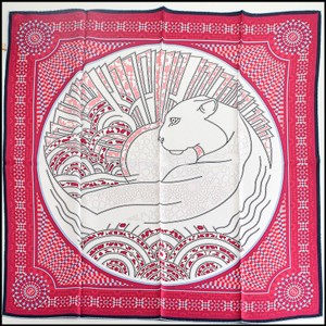 Cartier Cartier Magenta/White Panther Silk Twill Square Scarf