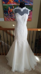Paloma Blanca Ivory 4457 Formal Wedding Dress Size 12 (L)