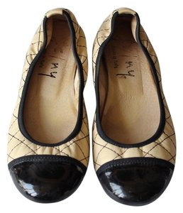 French Sole Italian Fs/Ny Leather Chanel Work Beige Flats
