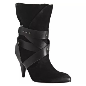 Mea Shadow Suede Wear To Work Edgy Stylish Wrap Around Black Boots
