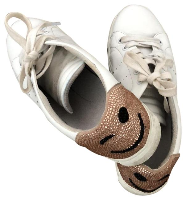 Item - White Nude Black Glitter Studded Smile Sneakers Size EU 40 (Approx. US 10) Regular (M, B)