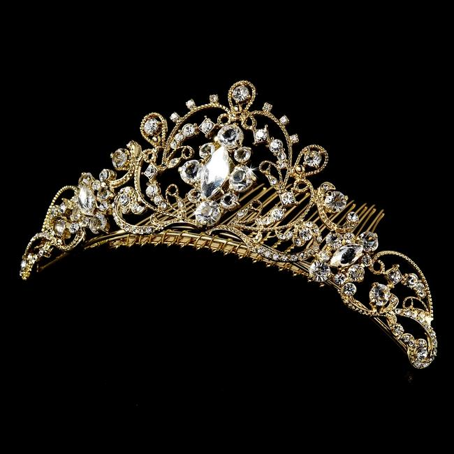 Elegance by Carbonneau Gold W Regal Tiara Comb W/ Clear Rhinestones Hair Accessory Elegance by Carbonneau Gold W Regal Tiara Comb W/ Clear Rhinestones Hair Accessory Image 1
