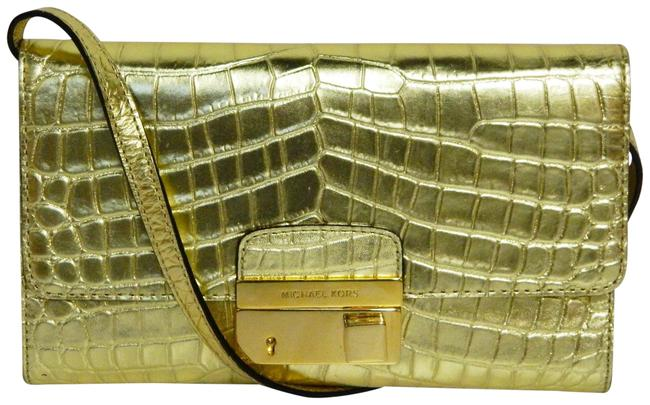 Item - Gold Embosed Crocodile Leather Clutch