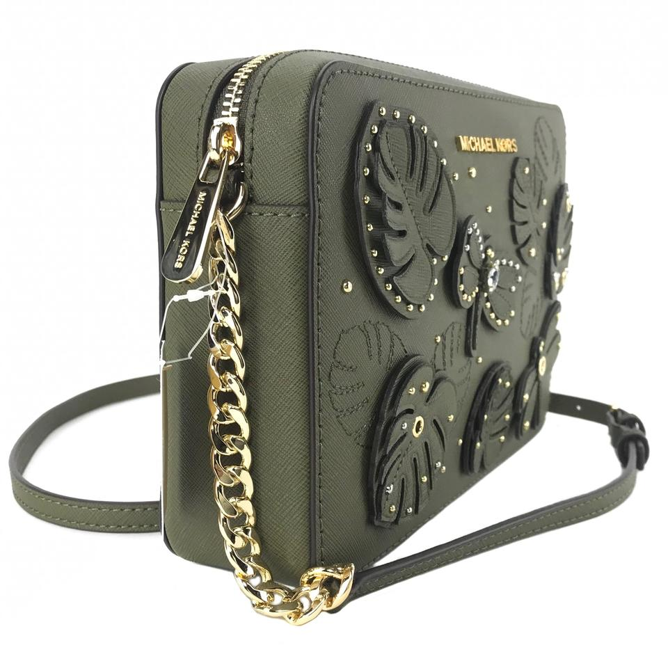5f7041eb7a97 Michael Kors Jet Set Large Embellished Green Leather Cross Body Bag ...