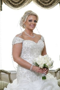 Ivory Medium Beaded Bridal Veil
