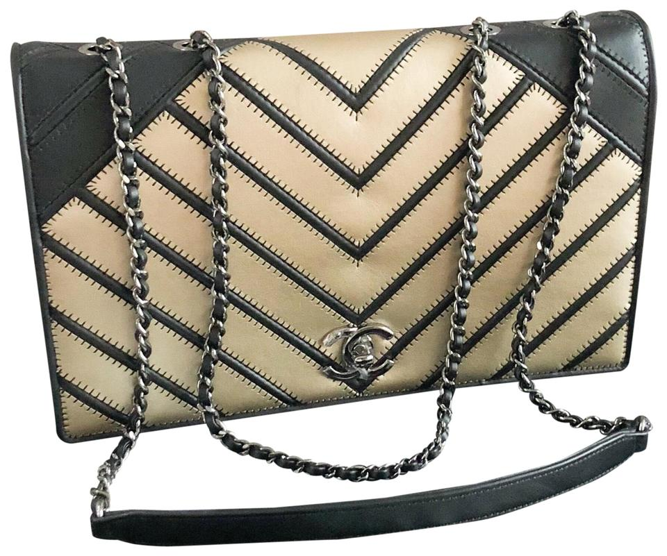93f4f73afff5 Chanel Classic Flap Runway Chevron Couture Two-tone Leather Shoulder Bag