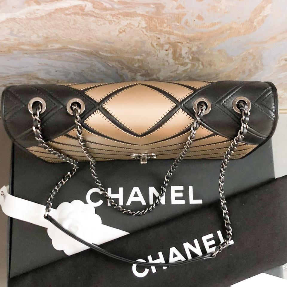 7b2c74dd2ea3 Chanel Classic Flap Runway Chevron Couture Two-tone Leather Shoulder ...
