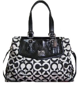 Coach Handbag Tote Carryall Rare Satchel in Black/White/Silver