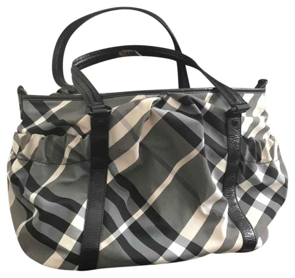 30a67c4234e Burberry Black, Grey & White check with patent leather details Diaper Bag  Image 0 ...