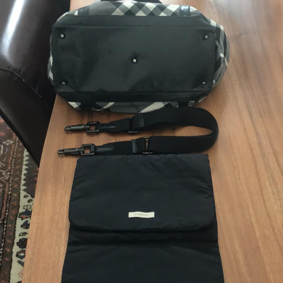 Burberry Black Grey   White Check with Patent Leather Details Canvas ... 6484d297ed901
