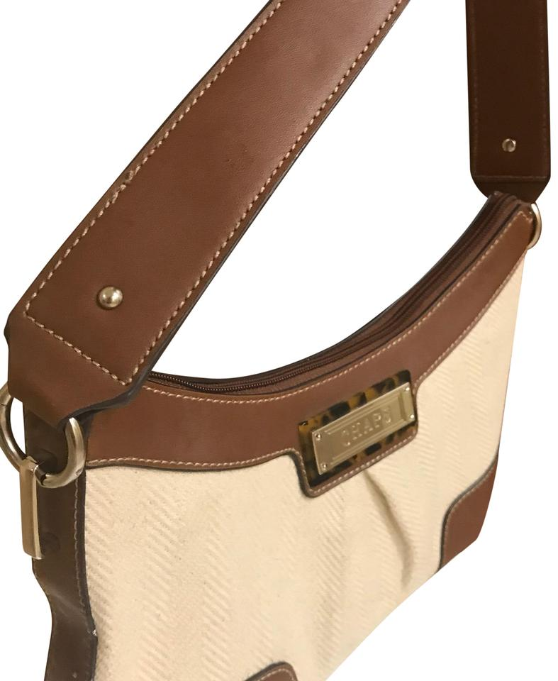 3280a0833d Chaps Ralph Lauren Collection White   Brown Mixed Material Fabric with  Leather Trimming and Straps Baguette